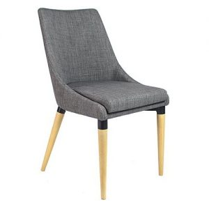 Abby Chair Grey Upholstery with Wooden Legs