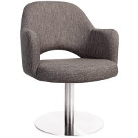 Albany Arm Chair - Disc Base - Stainless Steel