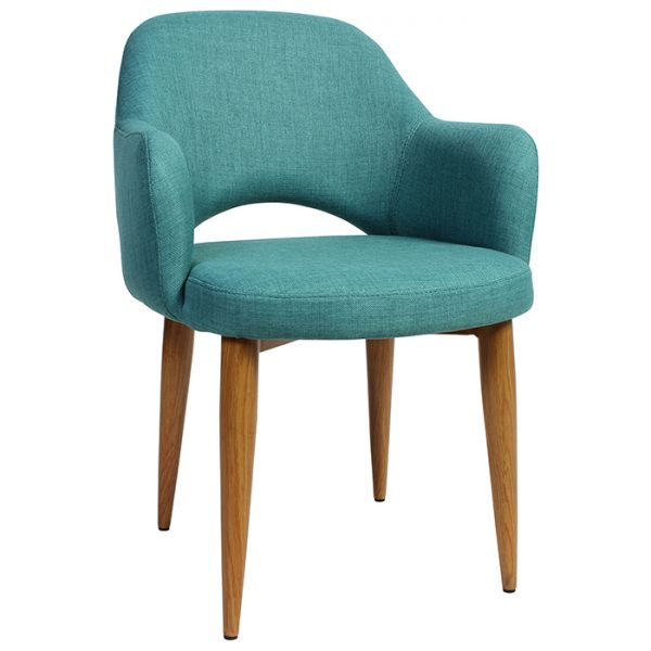 Albany Arm Chair - Metal Base - Light Oak