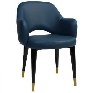 Albany Arm Chair - Timber Base - Brass