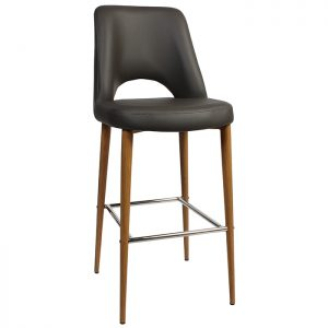 Albany Stool 750mm - Metal - Light Oak (Grey leather counter stools with backs)
