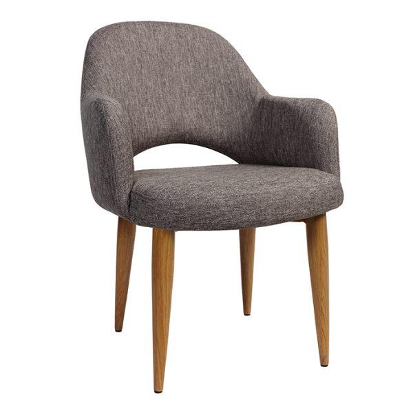 Albany XL Tub Chair - Metal - Light Oak