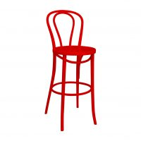 Bentwood Stool With Back Coloured