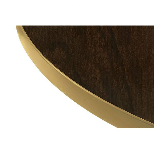 EZTOP Brass Edge Round 600mm - Dark Walnut