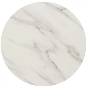 EZTOP Brass Edge Round 600mm - White Marble