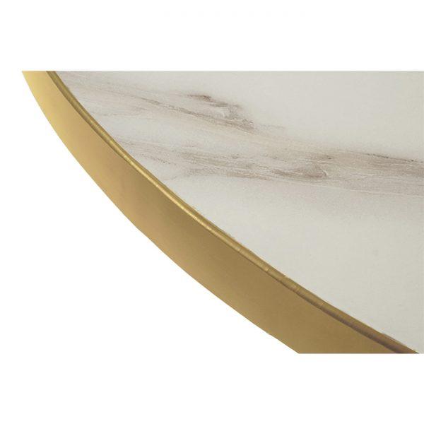 EZTOP Brass Edge Round 600mm - White Marble