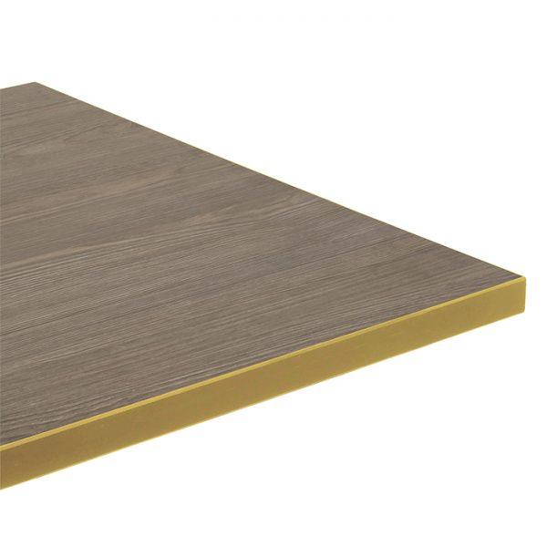 EZTOP Brass Edge Square 700mm - Ash Brown