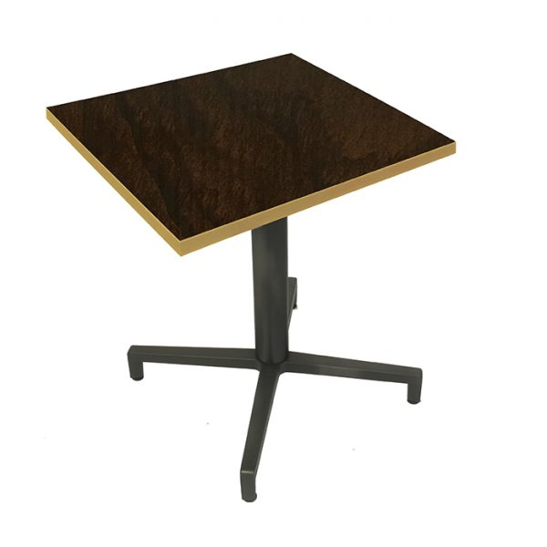 EZTOP Brass Edge Square 800mm - Dark Walnut