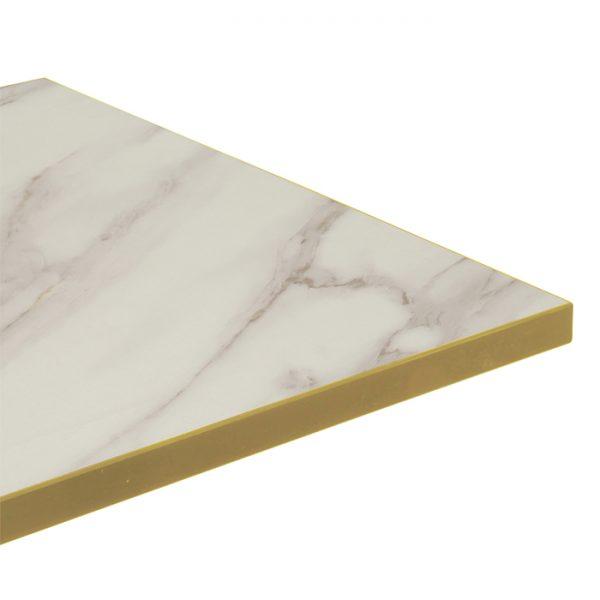 EZTOP Brass Edge Square 700mm - White Marble