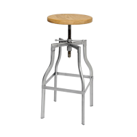 Industrial Stool with Timber Seat