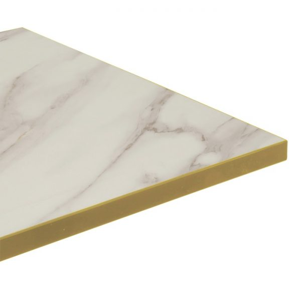 Melamine Top Brass Edge - 1200x800mm - Marble
