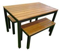 Outdoor 3 Piece Set 1200mm Galvanised Steel beer garden table and benches