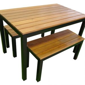 Outdoor 3 Piece Set 1200mm Galvanised Steel Timber Bench Black