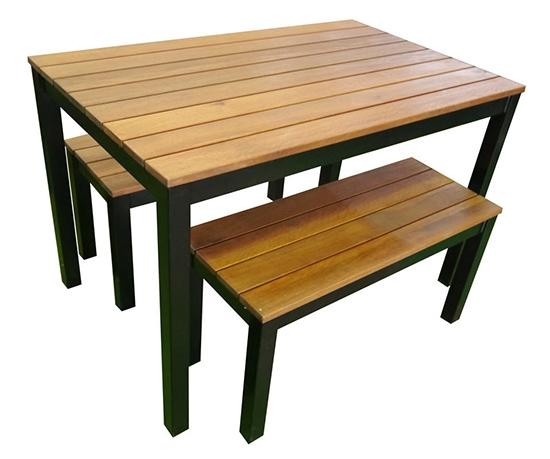 Outdoor 3 Piece Set 1200mm Galvanised Steel Timber Bench Black
