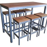 Outdoor 7 Piece Set Bar Table and Stool set (Solid Timber Outdoor Furniture)