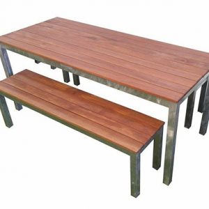 Outdoor 3 Piece Set 1800mm Galvanised Steel Timber Bench