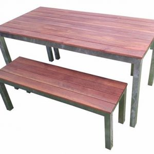 Outdoor 3 Piece Set 1500mm Galvanised Steel Timber Bench