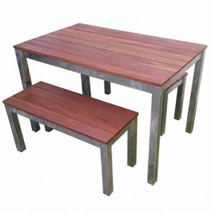 Outdoor 3 Piece Set 1200mm Galvanised Steel Timber Bench