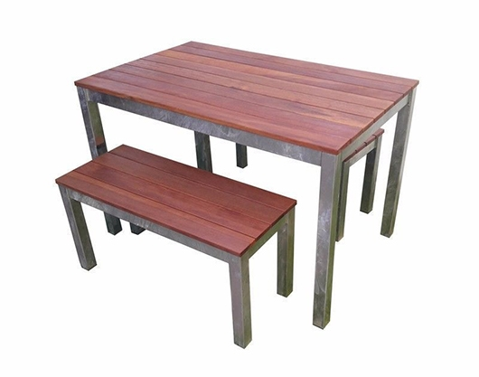 Outdoor 3 Piece Set 1200mm Galvanised Steel Timber Bench