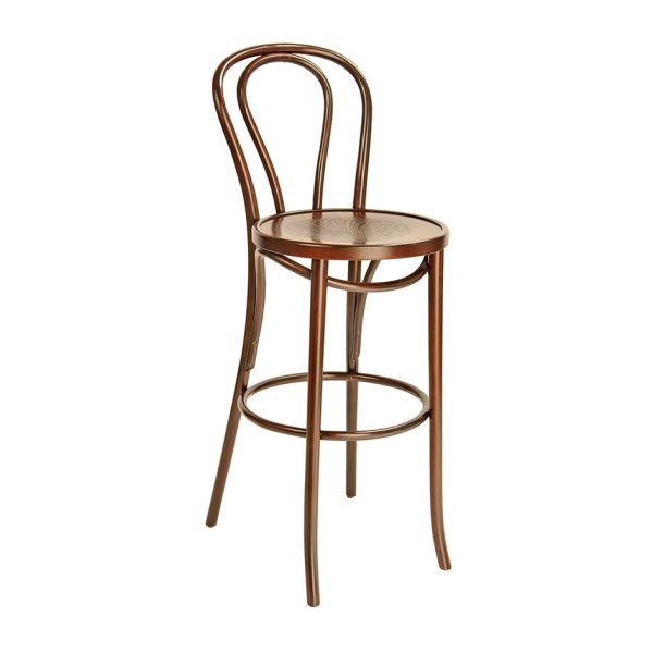 Bentwood Stool With Back Stained